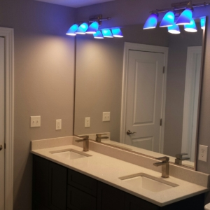 Framed mirrors wrapped with metal trim brushed nickel