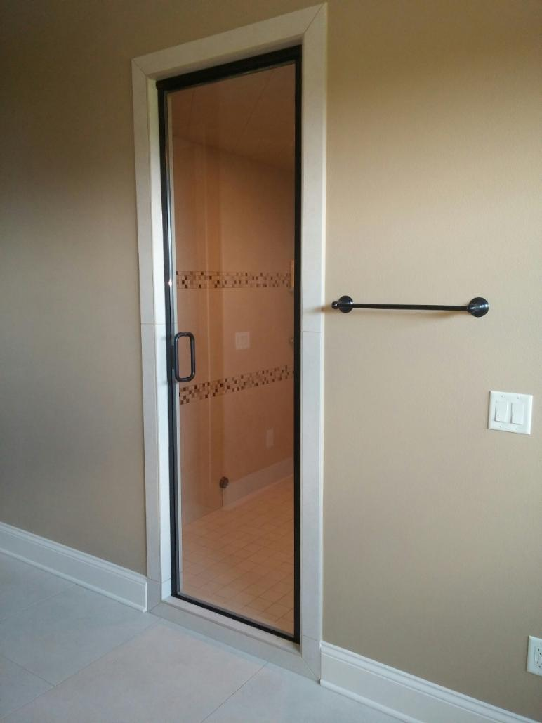 oil rubbed bronze semi frameless door with c-pull handle clear glass