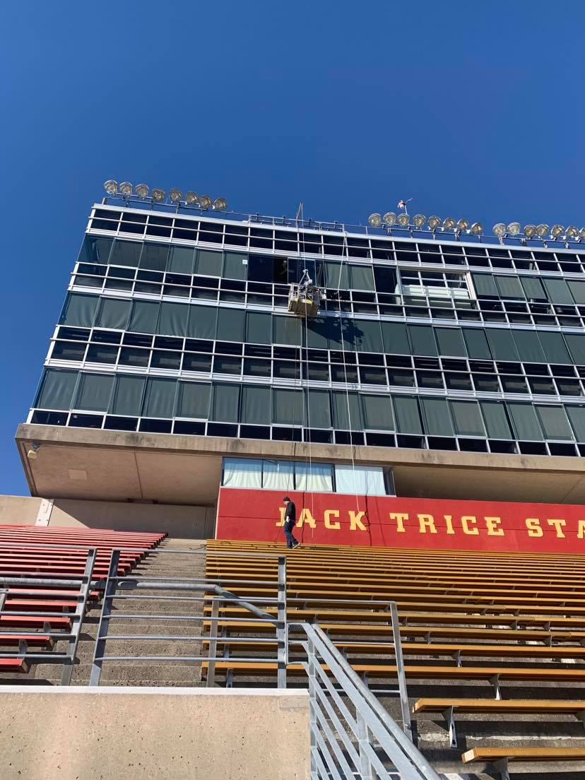 Glass replacement for the press tower up at Jack Trice Stadium.