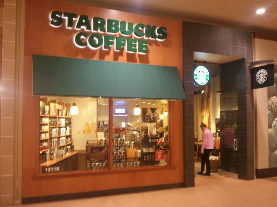 mall front iowa with panels in wood stops for Starbucks coffee