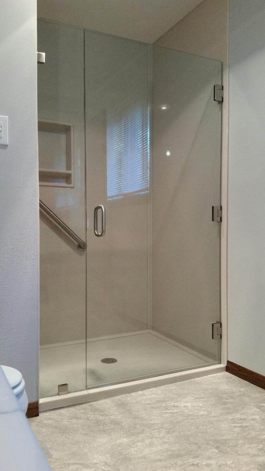 "Large 36"" wide frameless shower door using three hinges brushed nickel hardware  inline panel with clamps"