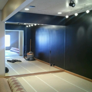basement dance room mirrors installed in west des moines