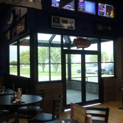 glass storefront, commercial building, remodel des moines, glass vestibule, commercial glass