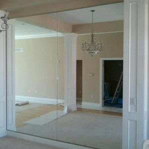 wall of mirrors for a dining room in urbandale