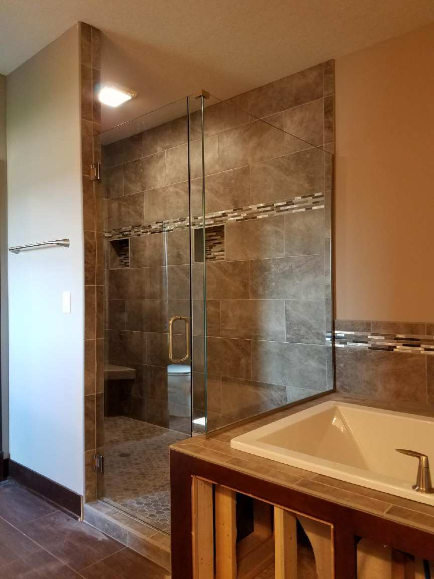 clear glass, frameless, channel, brushed nickel, inline/return,