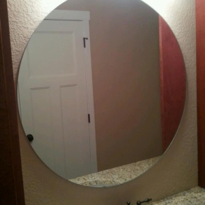 custom cut circle mirror with polished edges