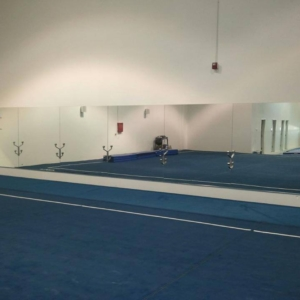 Ballet studio mirrors with custom cut outs for a ballet bar in ankeny